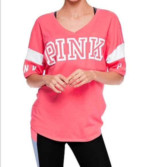 ca51f878fc VS Pink Open back Athletic Tee - Neon Coral - Med.  M 5ae2740485e605a4e4a5426d